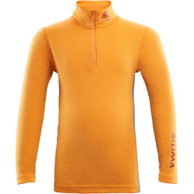Aclima WarmWool Sweat-shirt Col roulé avec zip Enfant, cadmium yellow/ tapestry